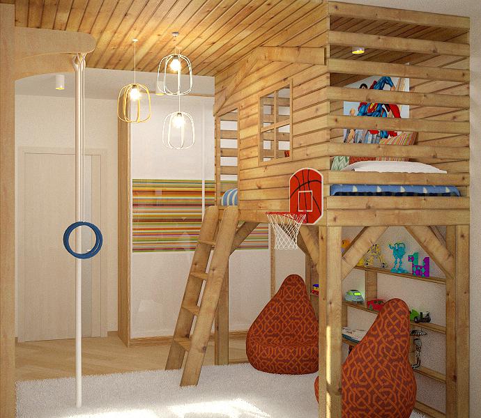 деревянный домик в детской