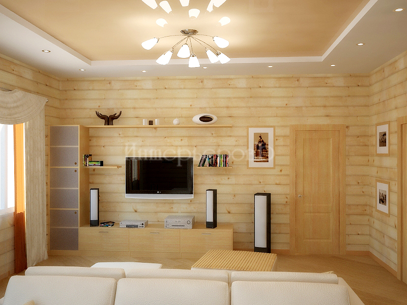 Дизайн гостиной из бруса