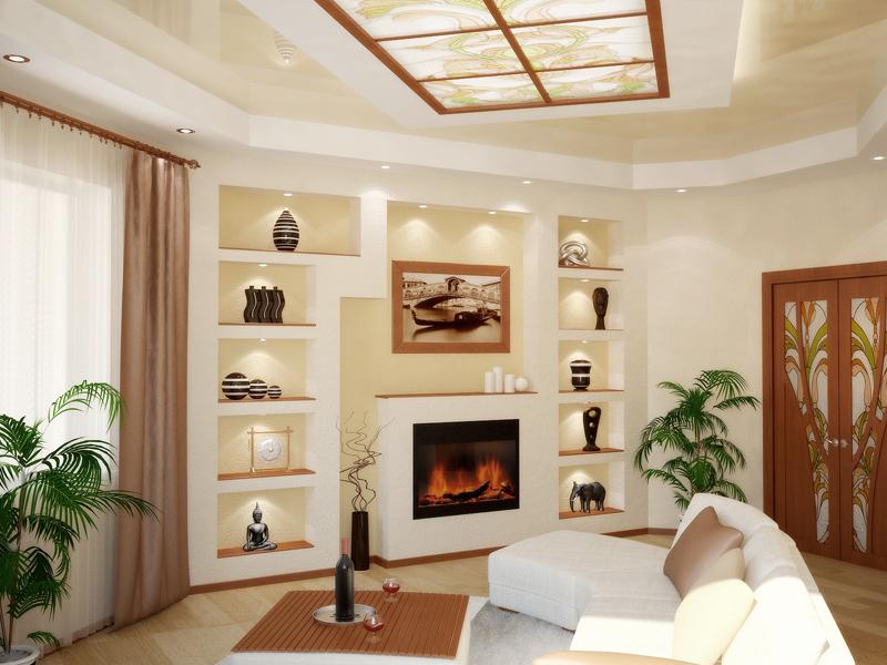 Дизайн квартиры с электрокамином