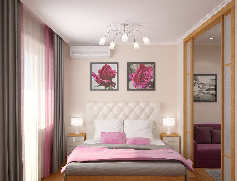 Дизайн спальни с балконом 13 квм.